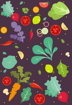 vegetables background colorful icons ornament