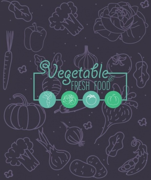 vegetables background dark handdrawn sketch