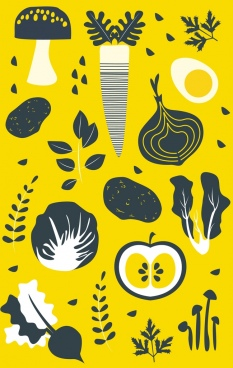 vegetables background flat cut design