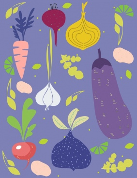 vegetables background multicolored flat decor
