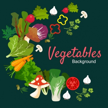 vegetables background multicolored icons design