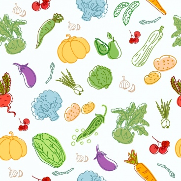 vegetables background multicolored icons handdrawn sketch