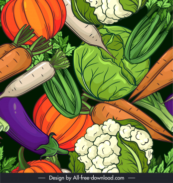 vegetables background template colorful flat retro handdrawn