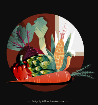 vegetables background vintage colored flat sketch