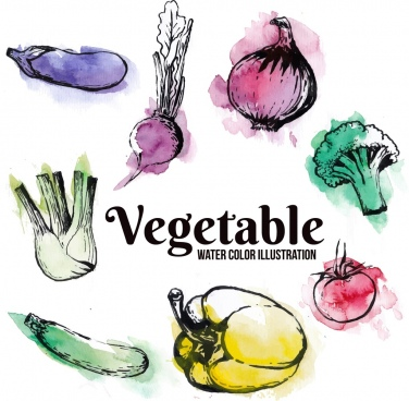 vegetables background watercolored grunge decor ingredients icons