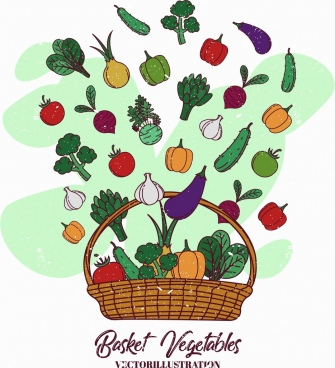 vegetables basket background colorful retro design
