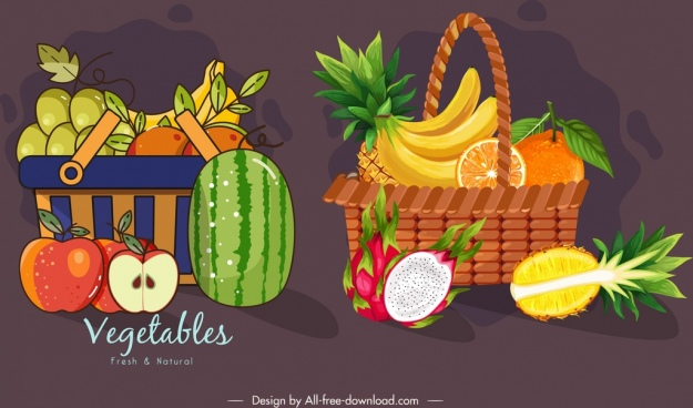 vegetables baskets icons dark colorful classical design