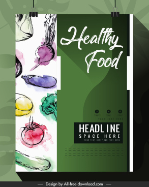 vegetables brochure template colorful retro grunge decor