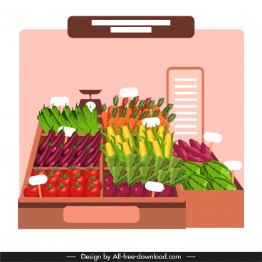 vegetables display background colorful modern design