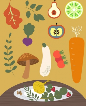 vegetables food design elements colored classical decor
