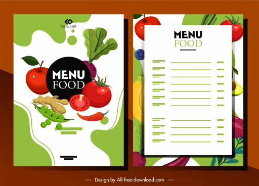 vegetables food menu template bright colorful classic decor