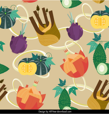 vegetables food pattern colorful classic decor
