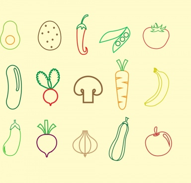 vegetables fruit icons outline colored flat design