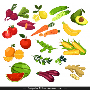 vegetables fruits icons colorful modern design