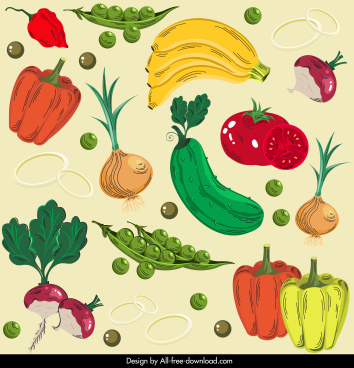 vegetables fruits pattern colorful classical decor
