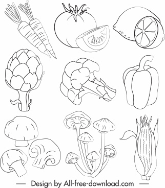 vegetables icons black white handdrawn outline