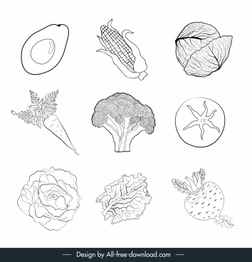 vegetables icons black white handdrawn sketch