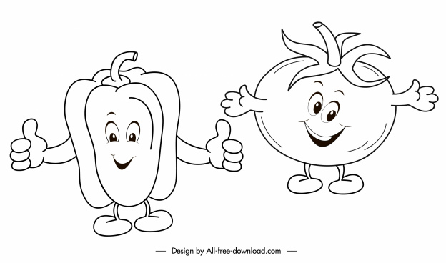 vegetables icons chili tomato sketch stylized handdrawn sketch