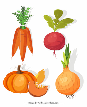 vegetables icons colored carrot beet pumpkin onion sketch
