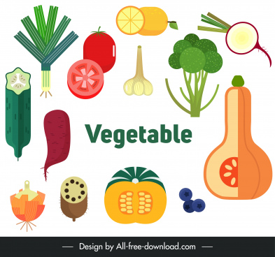 vegetables icons colorful classical flat sketch