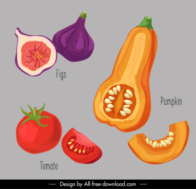 vegetables icons retro handdrawn figs tomato pumpkin sketch