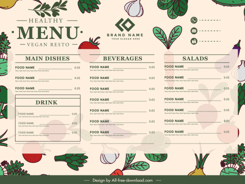 vegetables menu template colorful classic flat handdrawn sketch