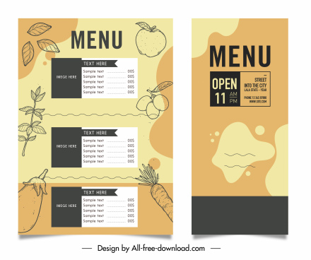 vegetables menu template retro flat design