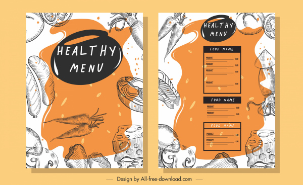 vegetables menu template retro handdrawn sketch