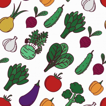 vegetables pattern colorful repeating icons decor