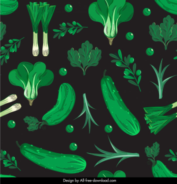 vegetables pattern dark green decor classic design