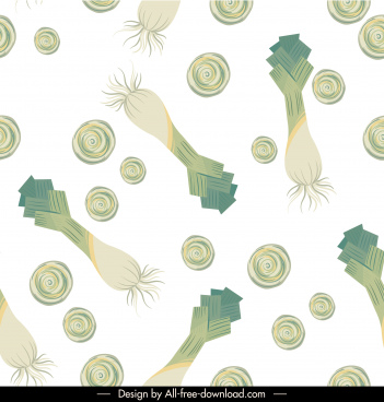 vegetables pattern scallion sketch classic flat repeating decor