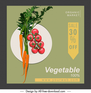 vegetables sale banner elegant flat classic sketch