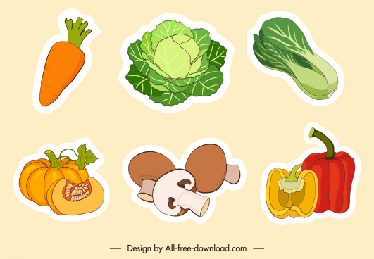 vegetables stickers flat handdrawn classic sketch