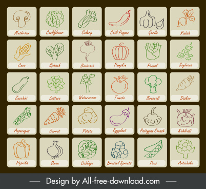vegetables tags icons collection handdrawn flat sketch