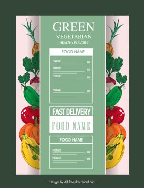 vegetarian menu cover template colorful classic vegetables sketch