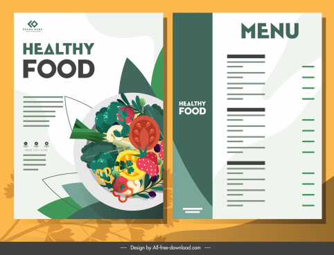 vegetarian menu template colorfu flat classical decor