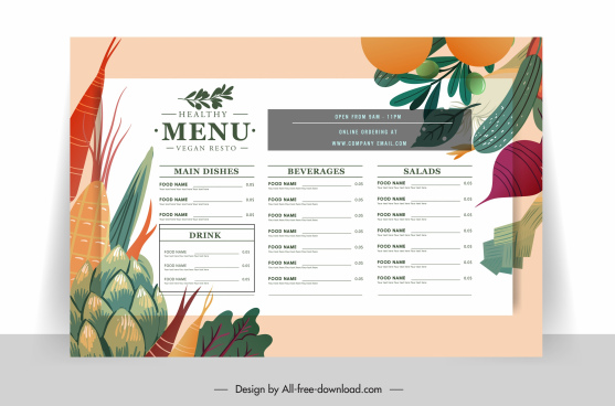 vegetarian menu template colorful classic flat vegetables sketch