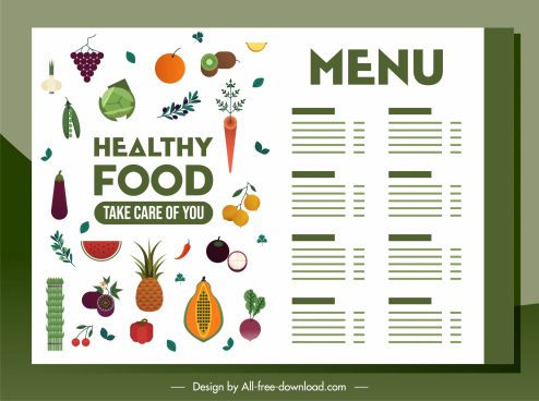 vegetarian menu template colorful fruits vegetables decor