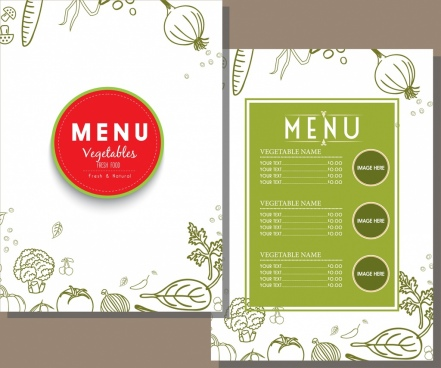 vegetarian menu template green decor handdrawn sketch