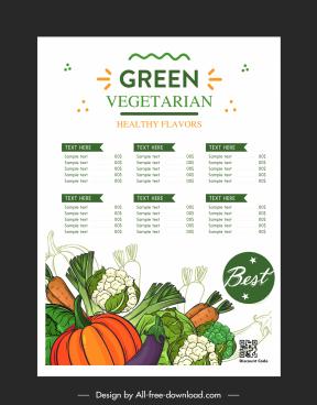 vegetarian menu template vegetables icons decor handdrawn classic