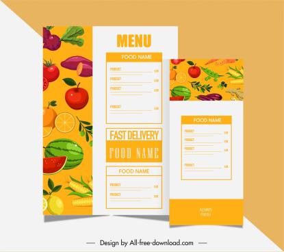 vegetarian menu templates bright colorful classic fruits vegetables