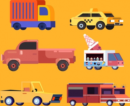 vehicle icons colored car types design cartoon design