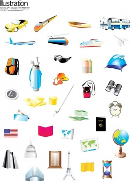 tourist design elements 3d colored symbols icons