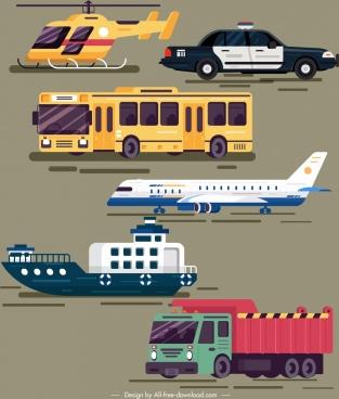 vehicles design elements colored modern sketch