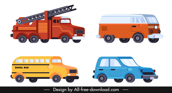vehicles icons fire truck bus van car sketch