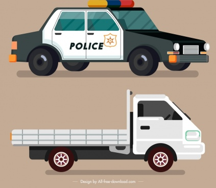 vehicles icons police car truck sketch colored design