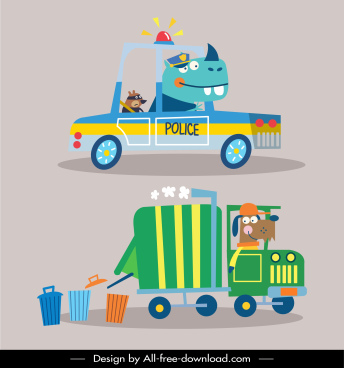 vehicles icons police rubbish disposal cars sketch