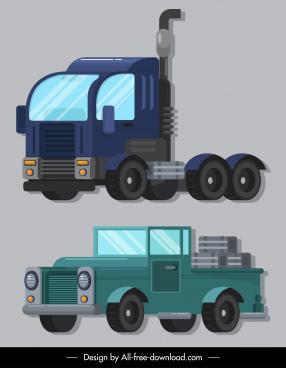 vehicles icons trailer van sketch colored design