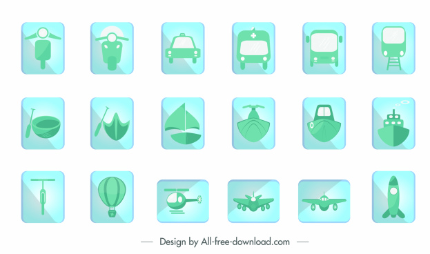 vehicles tags collection simple green flat design