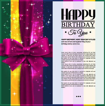 velvet bow happy birthday cards vector